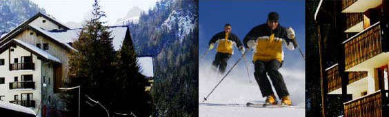 Image of Valféjus and close up of two skiers